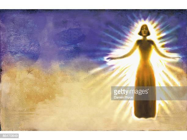 A woman with a golden aura