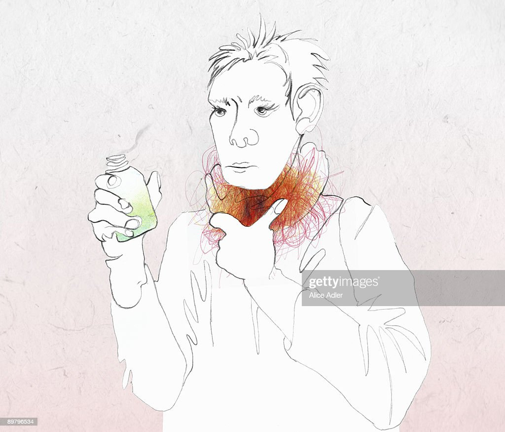 A woman with a sore throat holding medicine : stock illustration