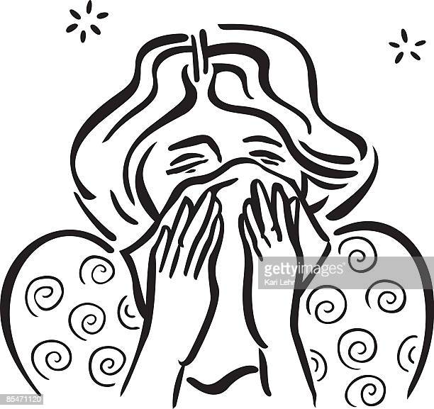 ilustraciones, imágenes clip art, dibujos animados e iconos de stock de a woman with a stuffy nose - blowing nose