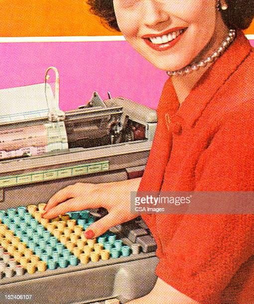 woman with adding machine - mid section stock illustrations