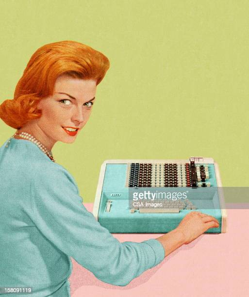 woman with adding machine - one mid adult woman only stock illustrations