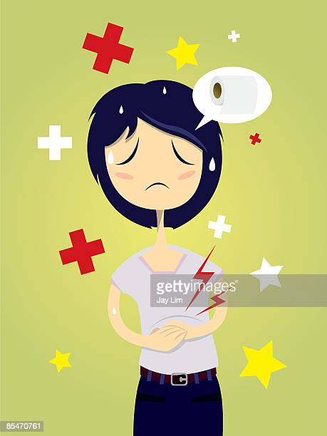 a woman with an upset stomach - stomach pain stock illustrations, clip art, cartoons, & icons