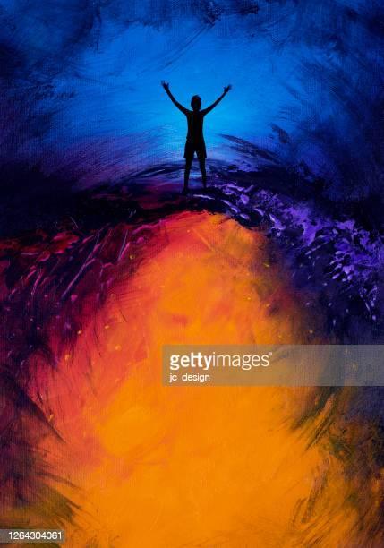 stockillustraties, clipart, cartoons en iconen met vrouw met wapens uit op kleurrijke abstracte achtergrond - bewustwording over geestelijke gezondheid