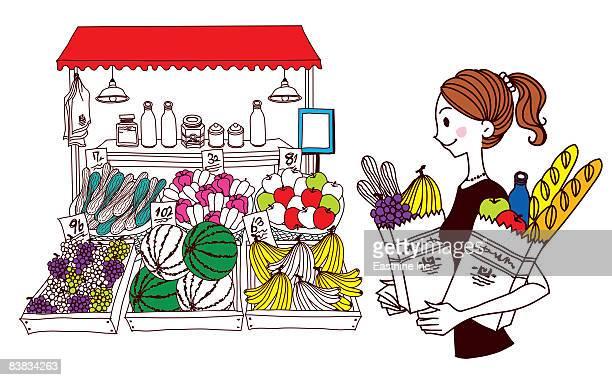 ilustraciones, imágenes clip art, dibujos animados e iconos de stock de woman with bag filled with fruit and vegetable standing outside market stall - puesto de mercado