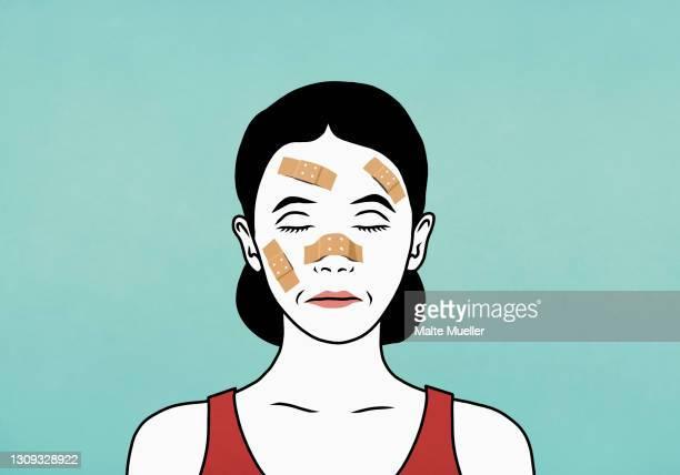 woman with bandaged face - 包帯点のイラスト素材/クリップアート素材/マンガ素材/アイコン素材