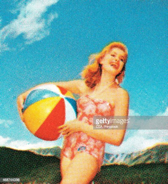 woman with beach ball - pin up girl stock illustrations, clip art, cartoons, & icons