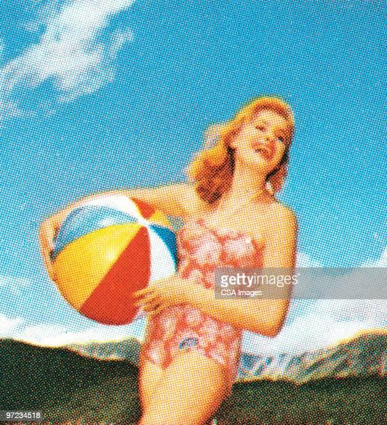 ilustraciones, imágenes clip art, dibujos animados e iconos de stock de woman with beach ball - chicas de calendario