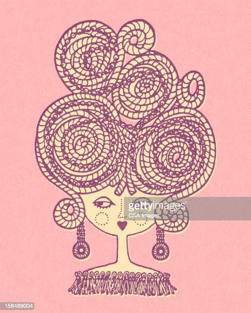 woman with big braided hair - updo stock illustrations, clip art, cartoons, & icons