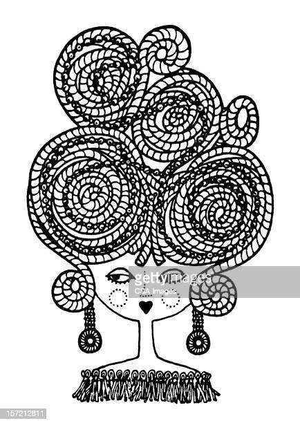 woman with big hair - updo stock illustrations, clip art, cartoons, & icons