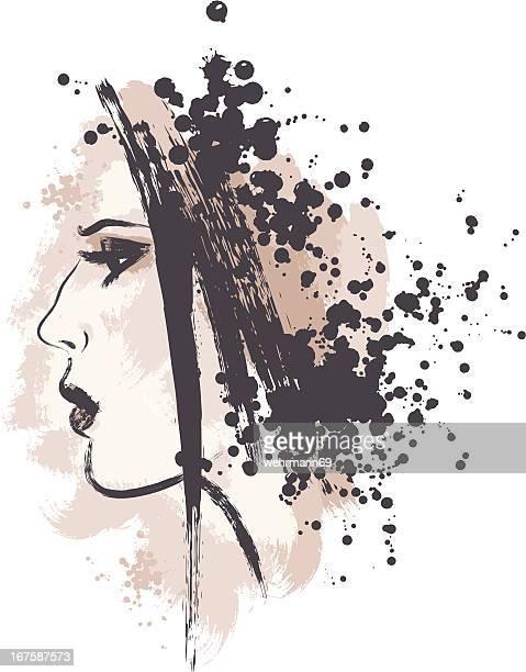 ilustraciones, imágenes clip art, dibujos animados e iconos de stock de mujer con cabello negro - modelo de artista