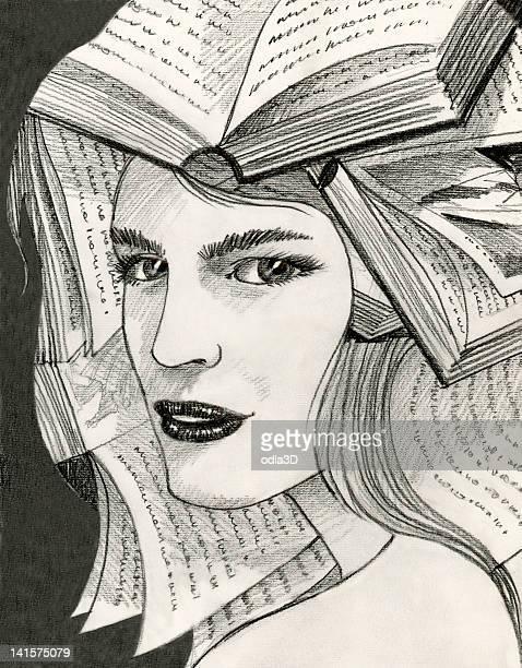 Mujer con libros sobre la cabeza