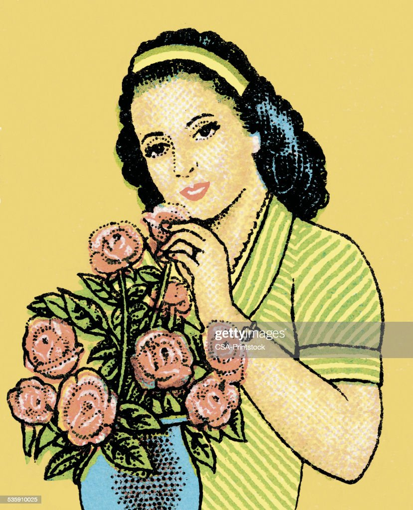 Woman with Bouquet of Roses : Stock Illustration