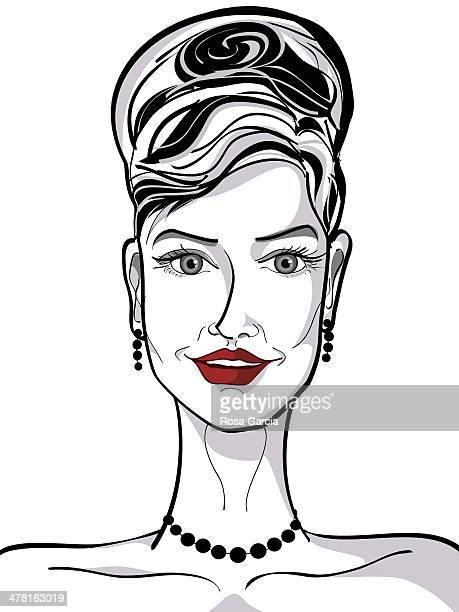 ilustraciones, imágenes clip art, dibujos animados e iconos de stock de a woman with bright red lipstick - mujeres de mediana edad