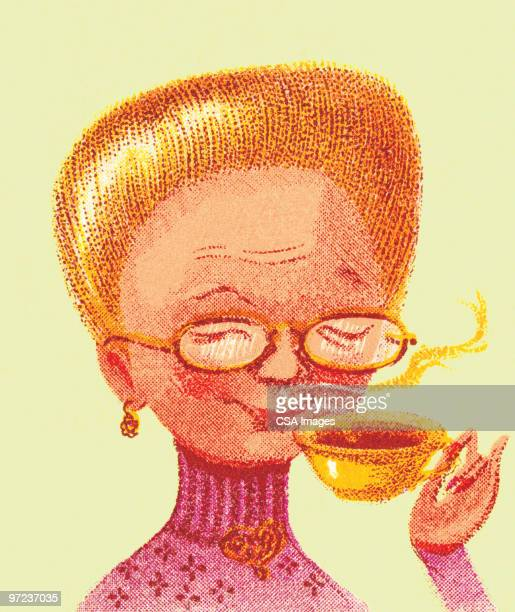 woman with coffee - steam stock illustrations