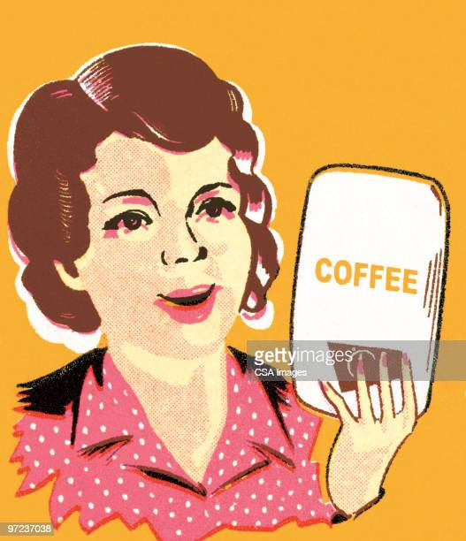woman with coffee - roasted coffee bean stock illustrations