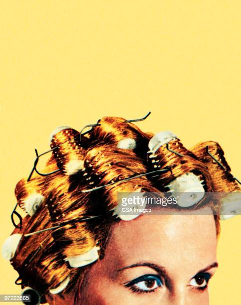 woman with curlers in her hair - staring stock illustrations