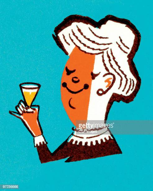 woman with drink - the ageing process stock illustrations