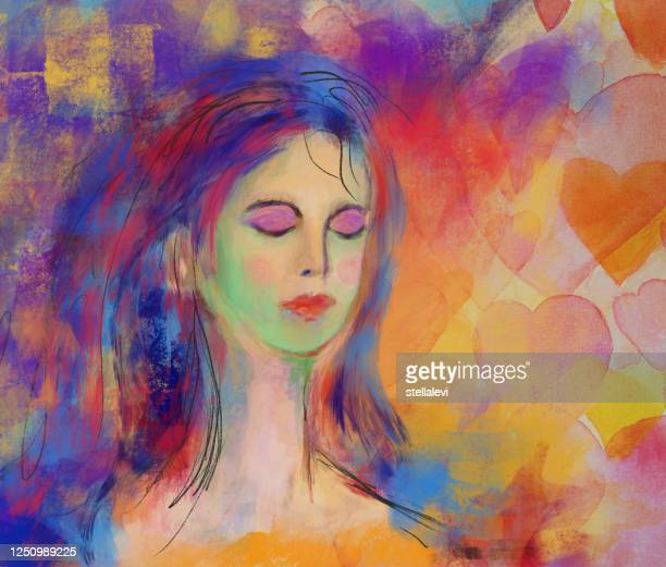 woman with eyes closed painting. meditation love and relaxation - stellalevi stock illustrations
