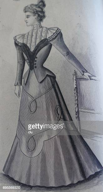 woman with fasionable clothing 19. jahrhundert - glücklichsein stock illustrations