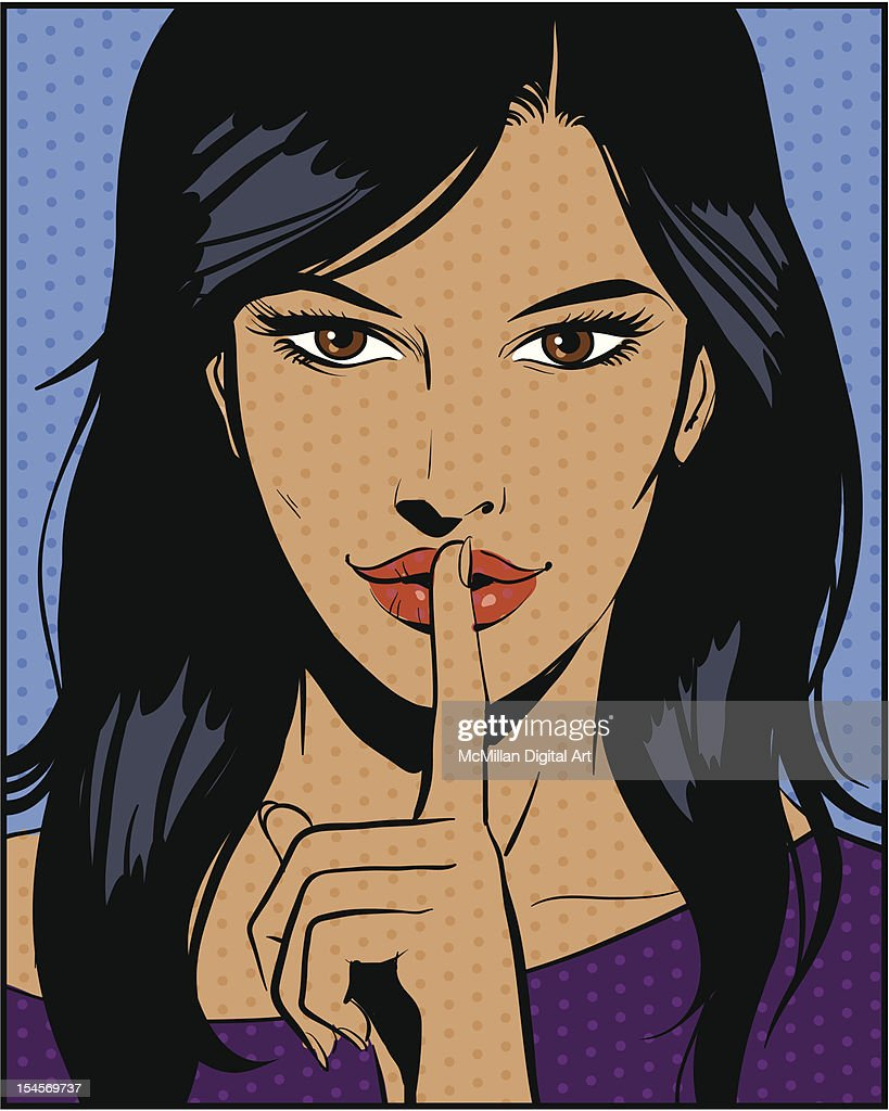 Woman with finger to lips, shushing : stock illustration
