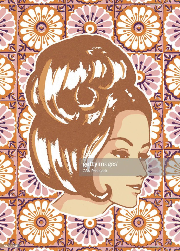 Woman with Floral Background : stock illustration
