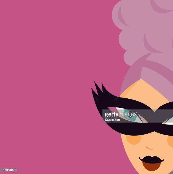 woman with formal updo and mask - updo stock illustrations, clip art, cartoons, & icons