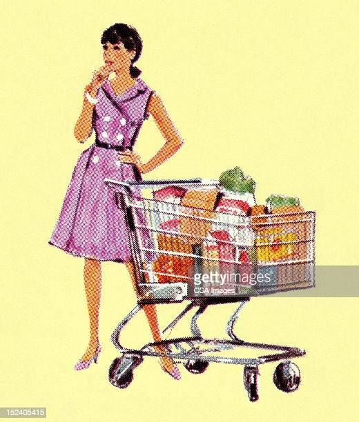 Woman With Full Shopping Cart