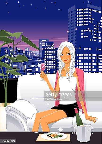 woman with glass of champagne - ice bucket stock illustrations, clip art, cartoons, & icons