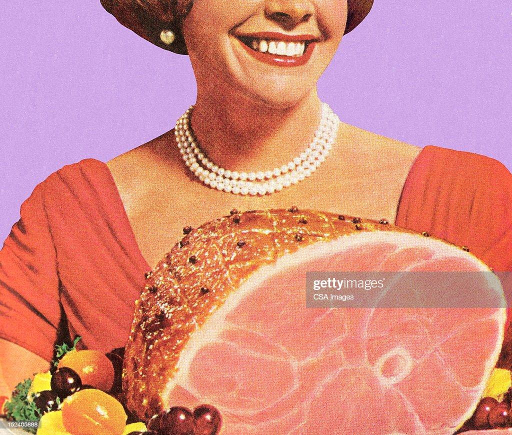 Woman With Ham : stock illustration
