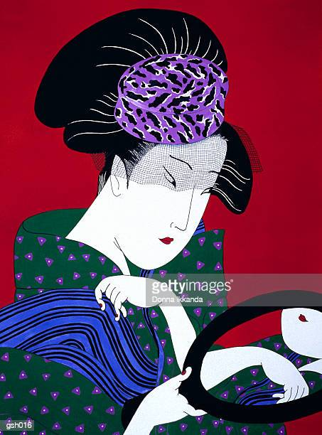 woman with hat & mirror - only japanese stock illustrations, clip art, cartoons, & icons