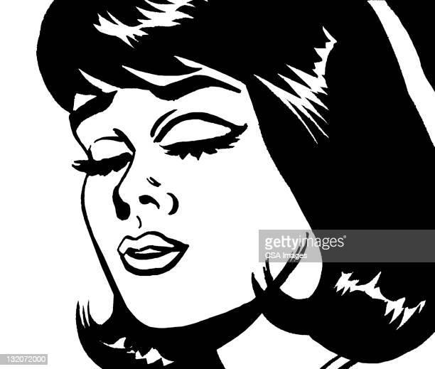 ilustraciones, imágenes clip art, dibujos animados e iconos de stock de mujer con los ojos cerrados - eyes closed
