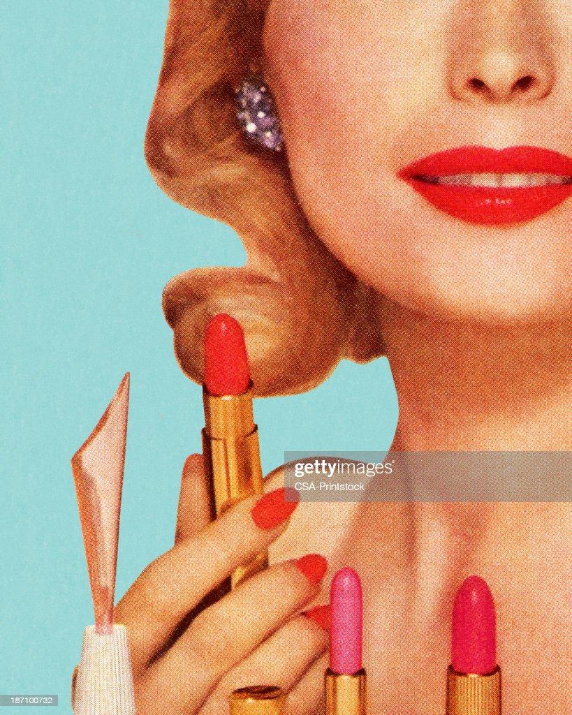 Woman With Lipsticks : Stockillustraties