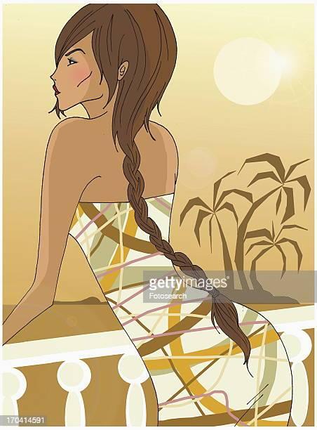 ilustraciones, imágenes clip art, dibujos animados e iconos de stock de woman with long braid leaning over balcony - mujeres de mediana edad