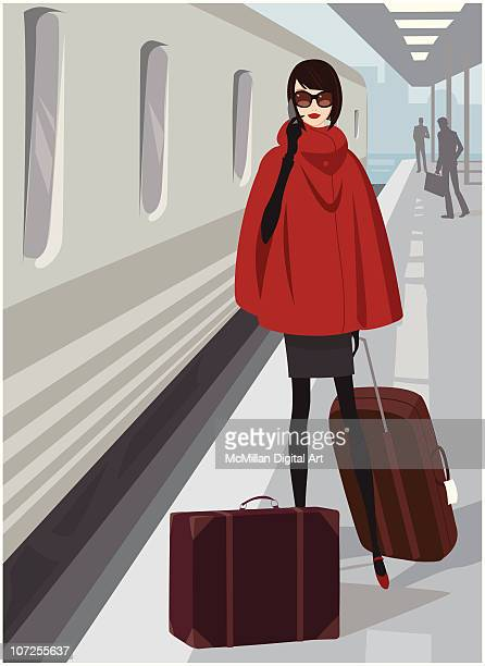 Woman with luggage on platform in train station