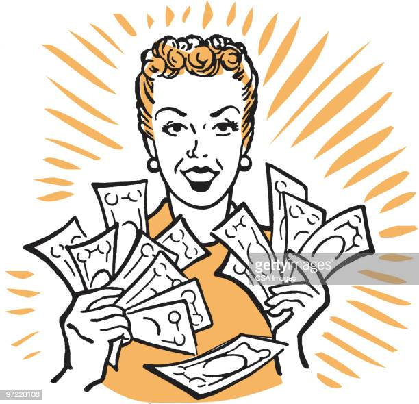 woman with money - strength stock illustrations