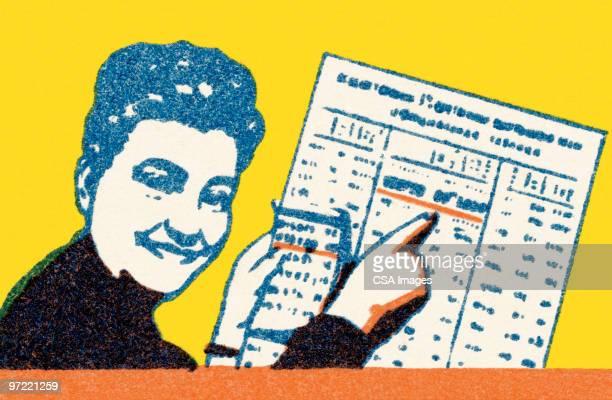 ilustraciones, imágenes clip art, dibujos animados e iconos de stock de woman with newspaper - jugar a juegos de azar