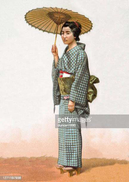 woman with parasol in traditional japanese dress, fashion - parasol stock illustrations