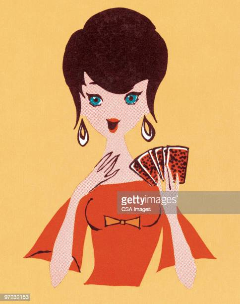 woman with playing cards - toy stock illustrations