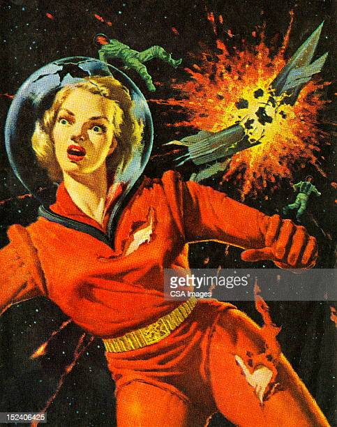 Woman With Rocket Exploding