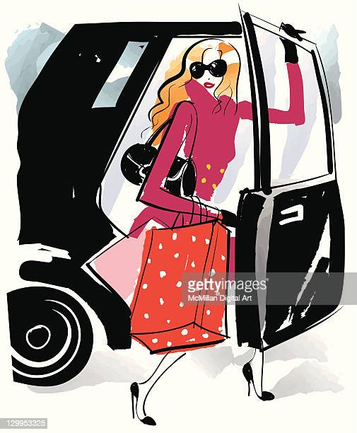 Woman with shopping bags exiting car