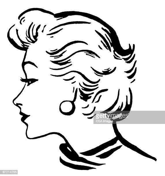 woman with short wavy hair - beauty stock illustrations