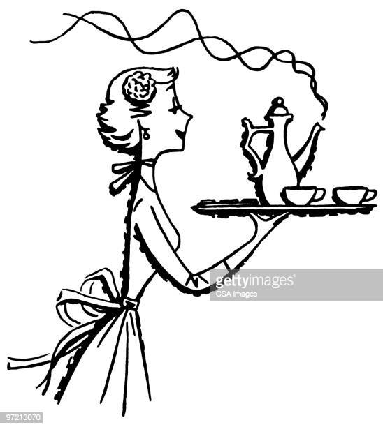 woman with tea - steam stock illustrations
