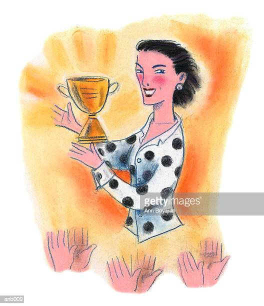 woman with trophy - applauding stock illustrations, clip art, cartoons, & icons