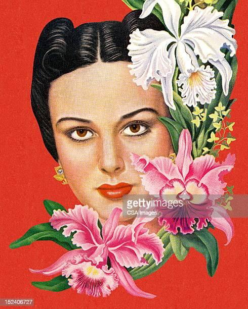 illustrazioni stock, clip art, cartoni animati e icone di tendenza di donna con fiori tropicali - occhi nocciola