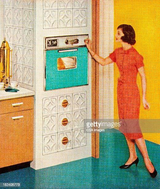 Femme avec le Turquoise un four
