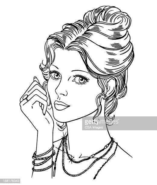 woman with updo hairstyle - updo stock illustrations, clip art, cartoons, & icons