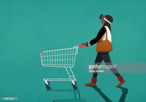 woman with virtual reality simulator pushing shopping cart - technology stock illustrations