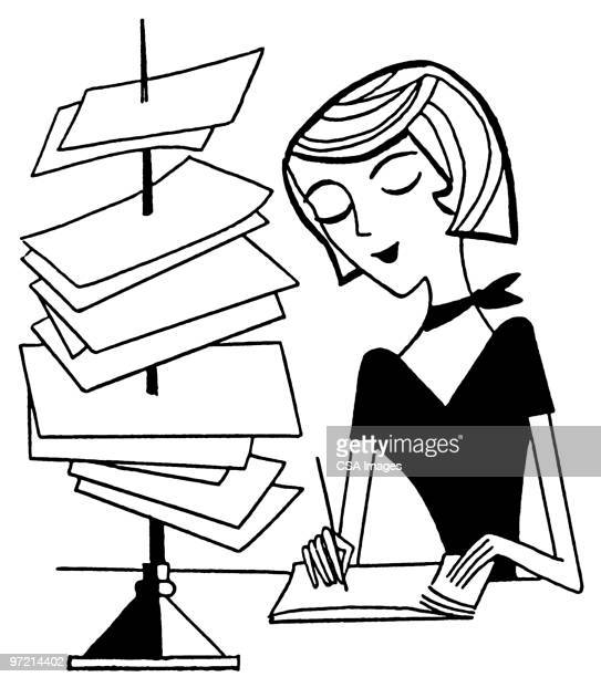 woman working at desk - writing stock illustrations