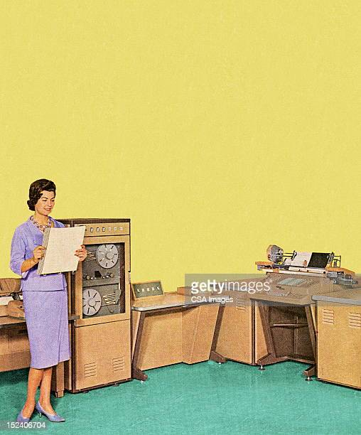 woman working in office - one mid adult woman only stock illustrations