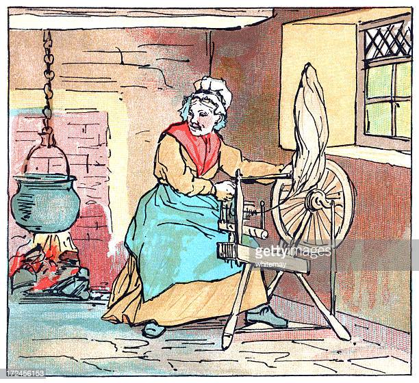 woman working on a spinning wheel - cauldron stock illustrations, clip art, cartoons, & icons